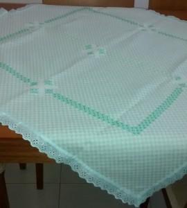 toalha xadrez verde agua